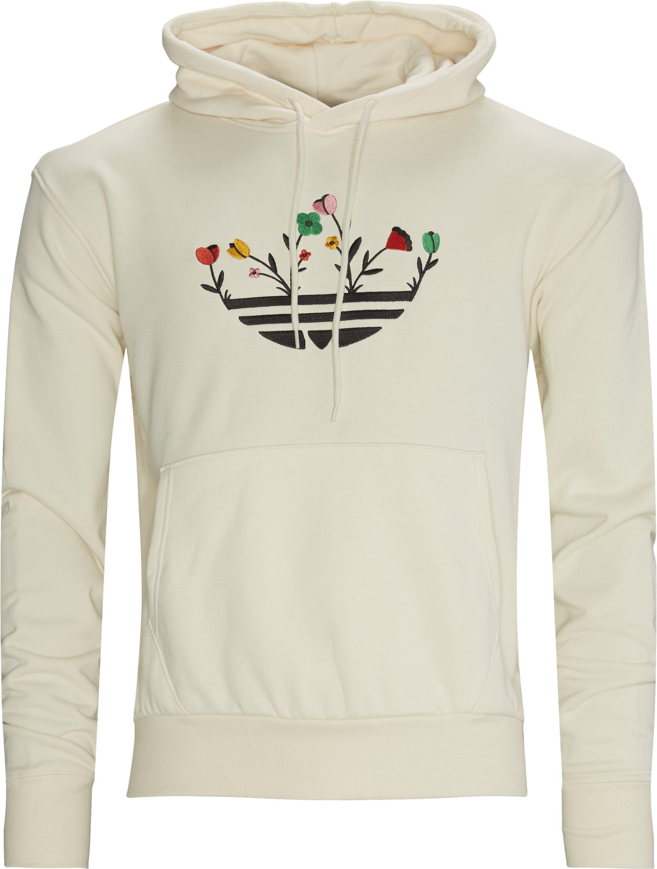Floral Trefoil Hoodie - Sweatshirts - Regular fit - Hvid